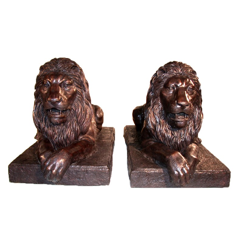 Bronze Lying Lions on Base Sculpture Pair