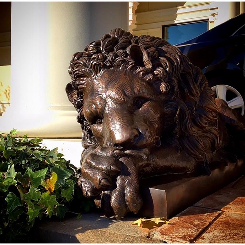 Bronze Lying Lion Sculpture Set