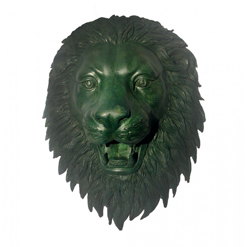 Bronze Lion Face Fountain Sculpture with Italian Green Patina