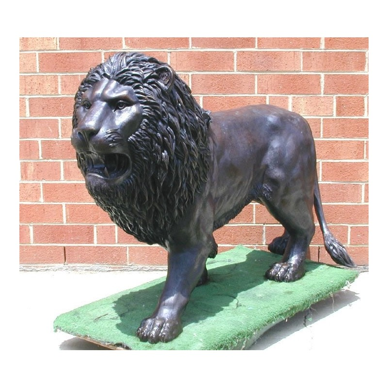 Bronze Standing Lion Sculpture