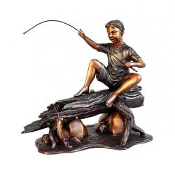 Bronze Table Top Boy Fishing on Log Sculpture