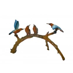 Bronze Table Top Colorful Hummingbirds on Branch Sculpture