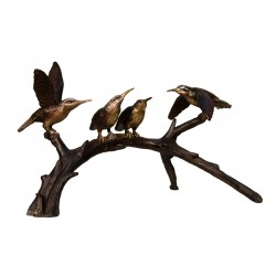 Bronze Table Top Hummingbirds on Branch Sculpture