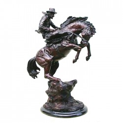 Bronze Table Top Bronze Cowboy on Horse Sculpture