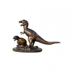 Bronze Table Top Dinosaur with Baby Sculpture