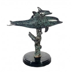 Bronze Table Top Bronze Dolphin & Baby Sculpture on Marble Base