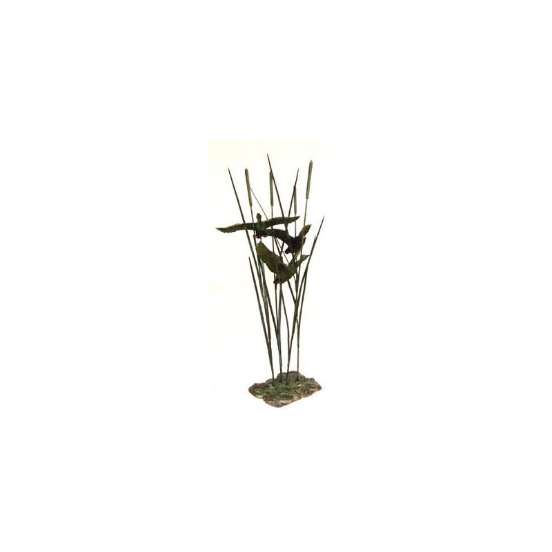 Bronze Table Top Ducks with Open Wings Sculpture
