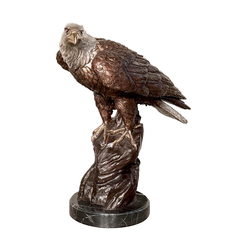 Bronze Table Top Eagle on Rock Sculpture on Marble Base