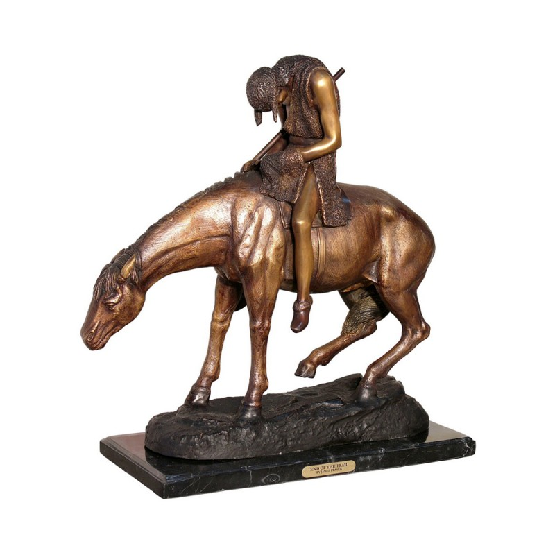 Bronze Table Top Frederick Remington End of the Trail Sculpture