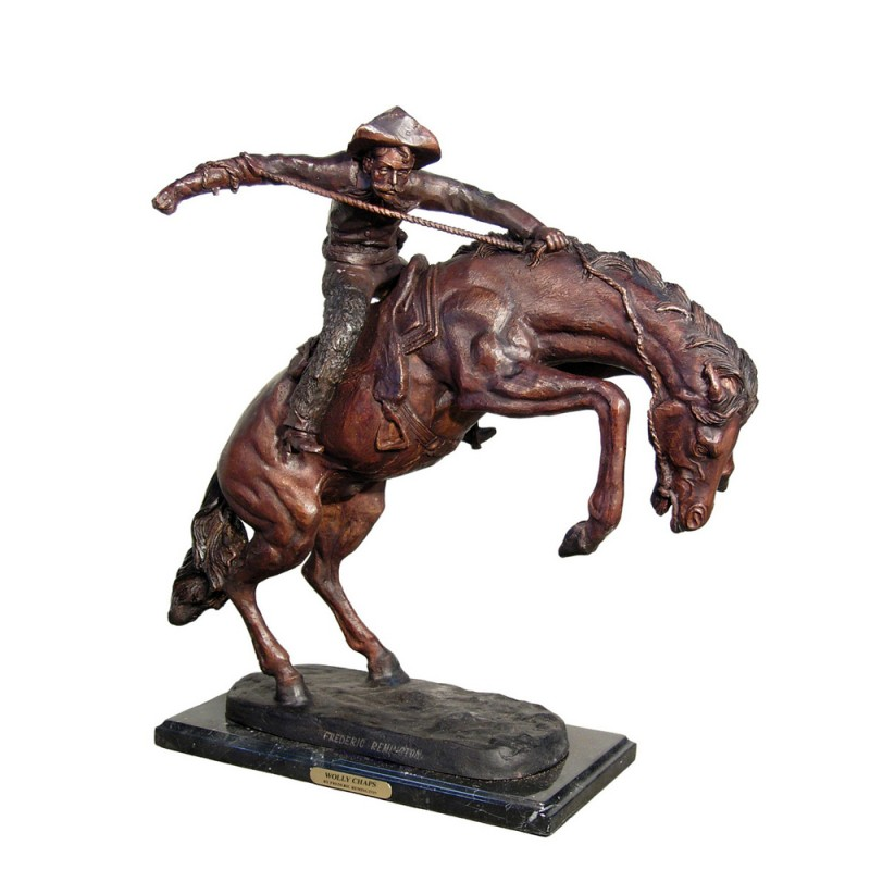 Bronze Table Top Frederick Remington Wolly Chaps Sculpture
