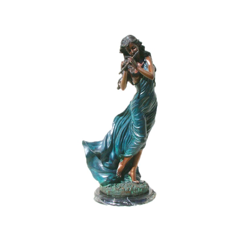 Bronze Table Top Girl playing Flute Sculpture
