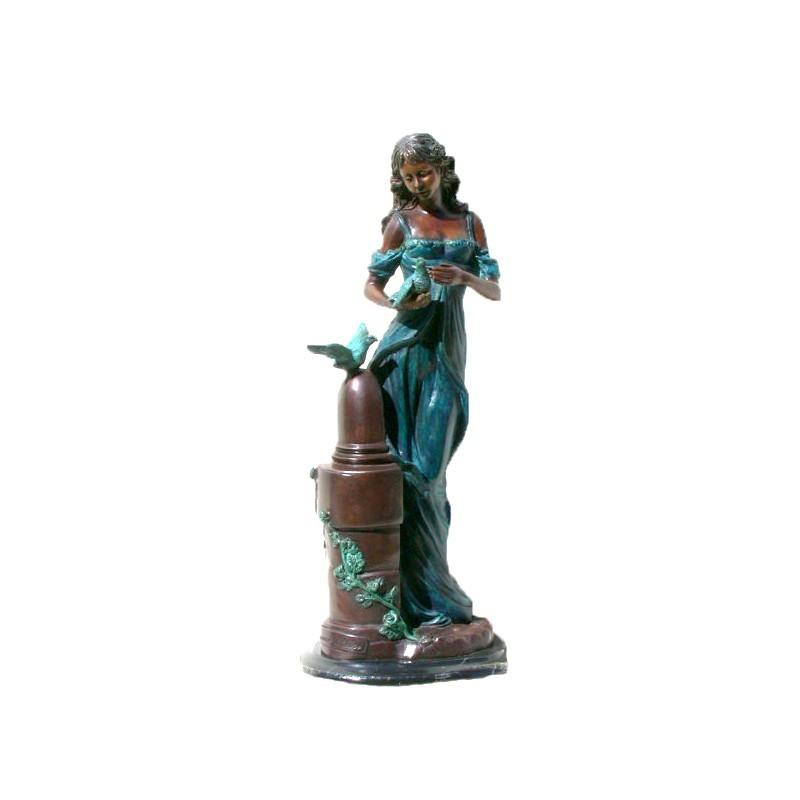 Bronze Table Top Girl with Bird Sculpture