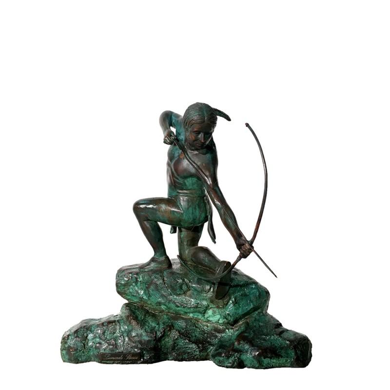 Bronze Table Top Indian with Arrow Sculpture