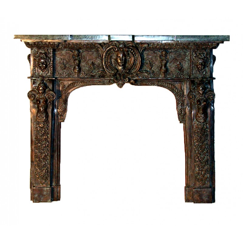 Bronze Rams Head Fire Place Surround with Marble Mantle Top