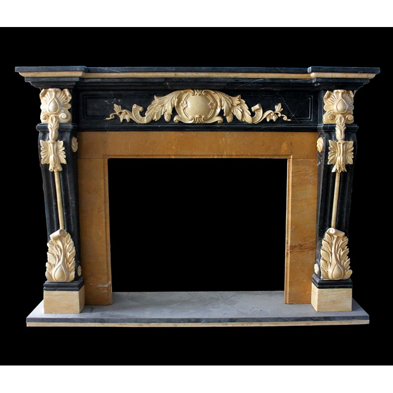 Marble Black & Gold Ornate Fireplace Mantle Surround