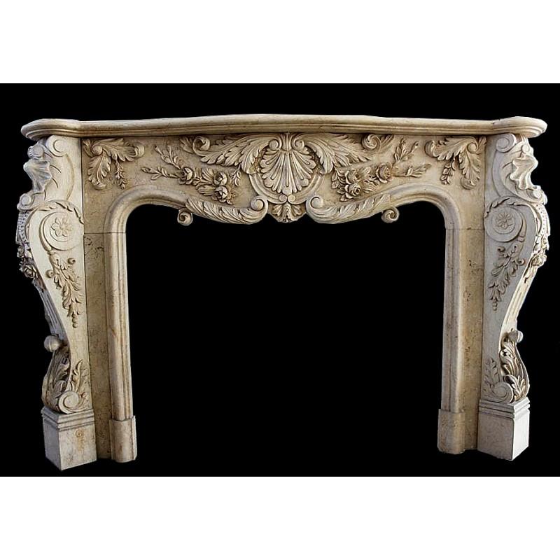 Marble Elegant Floral Fireplace Mantle Surround