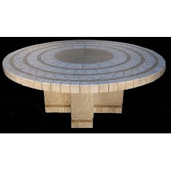 Cross Mosaic Stone Tile Chat Table Base - Shown with Optional Mosaic Table Top