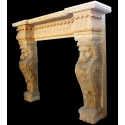 Marble Lion Face Fireplace Mantle Surround