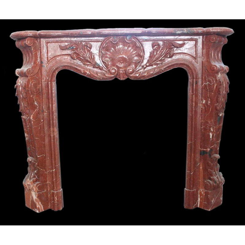 Blood Red Marble Garland Fireplace Mantle Surround