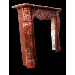 Blood Red Marble Floral Fireplace Mantle Surround