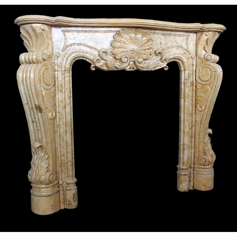 Beige Marble Clam Shell Fireplace Mantle Surround