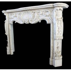 Marble Floral and Shell Fireplace Mantle Surround