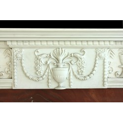 White and Red Elegant Marble Fireplace Mantle Surround - Closeup