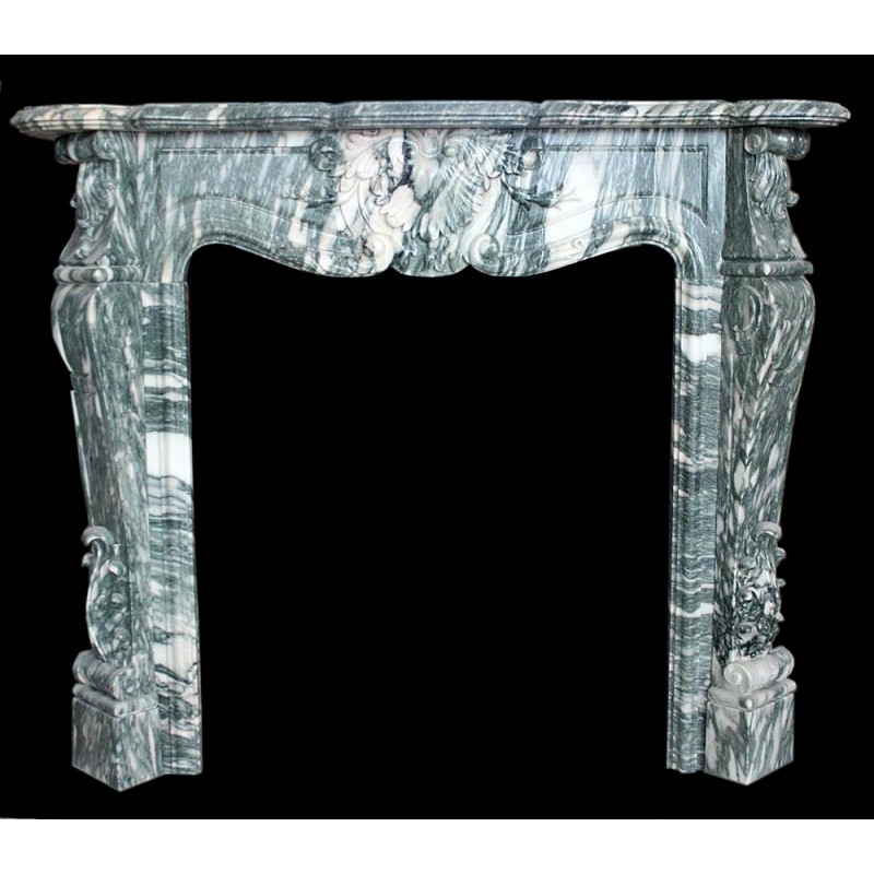 Grey Vein Floral Marble Floral Fireplace Mantle Surround