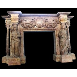 Marble Mantle Lady Columnar Fireplace Surround