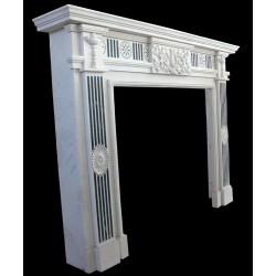 Modern Marble Sun Face Fireplace Surround