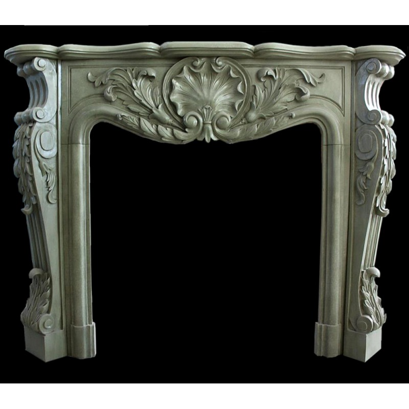 Sage Marble Floral Fireplace Surround