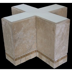Cross Mosaic Stone Tile Bar Height Table Base
