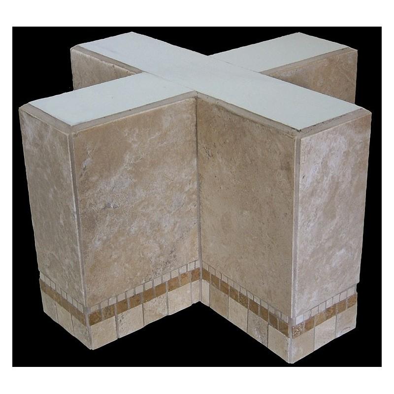 Cross Mosaic Stone Tile Bar Height Table Base