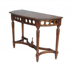 Neoclassical Demilune Console, Hallway or Serving Table - Side View