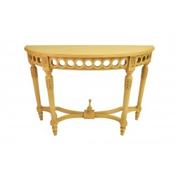 Neoclassical Demilune Console, Hallway or Serving Table Crackle Finish