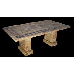 Pompeii Mosaic Stone Tile Chat Table Base Set - Shown with Optional Mosaic Table Top