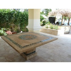 Troy Square Mosaic Stone Tile Bar Height Table Base - Shown with Optional Mosaic Table Top