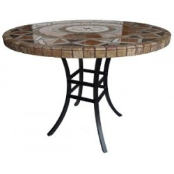 Katy XL Aluminum Table Base - Use with large solid table tops. Shown with Optional Mosaic Table Top.