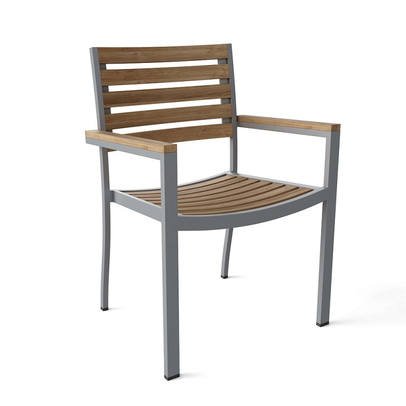 Seville Stacking Teak and Aluminum Armchair (sell & priced per 4 chairs only)
