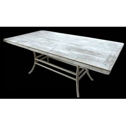 Katy Aluminum Rectangle Dining Table Base - Shown with optional table top.