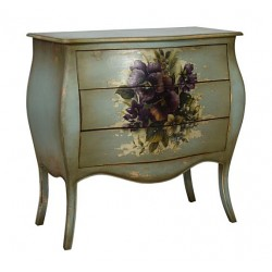 Artisan Custom Distressed Flower Muriel Painted Finish Chest