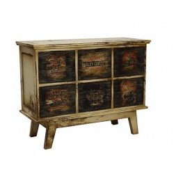 Artisan Custom Motorcycle Themed Distressed Finish Chest