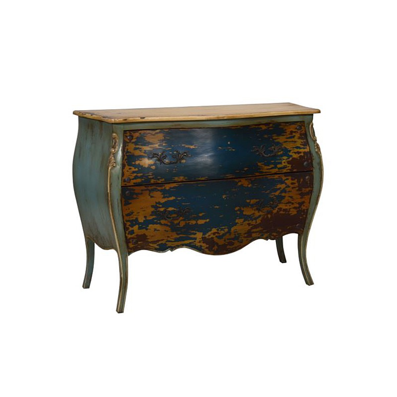 Artisan Custom Blue and Green Distressed Finished Chest