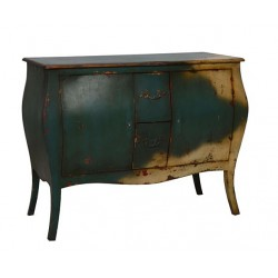 Artisan Custom Green and Beige Distressed Finished Chest