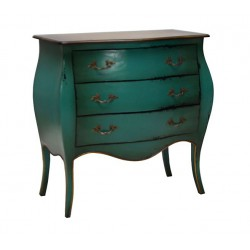 Artisan Custom Green Distressed Finish 3-Drawer Chest