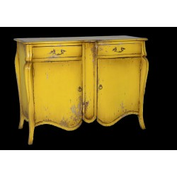 Artisan Custom Distressed Yellow Finished Cabinet