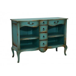 Artisan Custom Distressed Teal Finished Cabinet