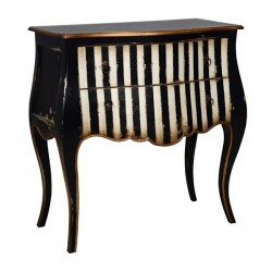 Artisan Custom Black and White Striped Distressed Finished Short Chest