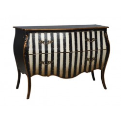 Artisan Custom Black and White Striped Distressed Finished Long Chest