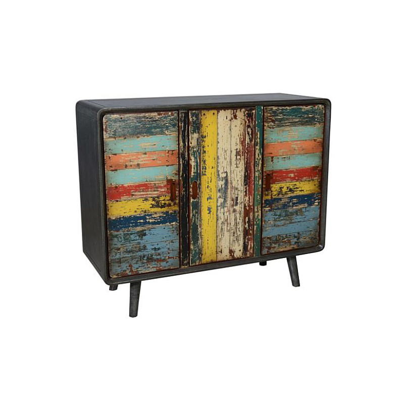 Artisan Distressed Multi-Color Finished 3-Door Cabinet
